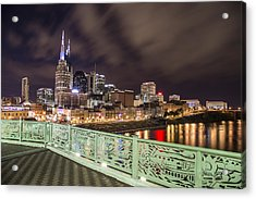 Nashville Skyline And Bridge Acrylic Print