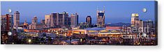 Nashville Skyline At Dusk Panorama Color Acrylic Print by Jon Holiday