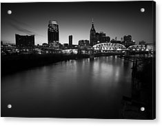 Nashville Skyline Black And White Acrylic Print