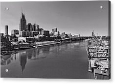 Nashville Skyline In Black And White At Day Acrylic Print by Dan Sproul
