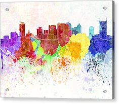 Nashville Skyline In Watercolor Background Acrylic Print by Pablo Romero
