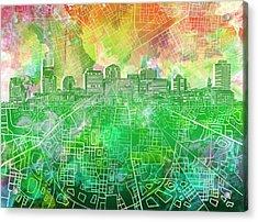 Nashville Skyline Watercolor 2 Acrylic Print
