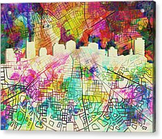Nashville Skyline Watercolor 7 Acrylic Print