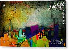 Nashville Skyline Watercolor Acrylic Print