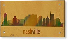 Nashville Tennessee Skyline Watercolor On Parchment Acrylic Print by Design Turnpike