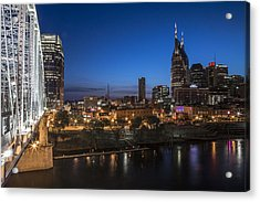 Nashville Tennessee With Pedestrian Bridge  Acrylic Print