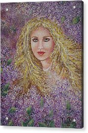Acrylic Print featuring the painting Natalie In Lilacs by Natalie Holland