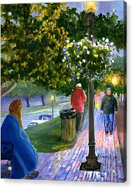 Acrylic Print featuring the painting Natchitoches Front Street Cane River by Lenora  De Lude