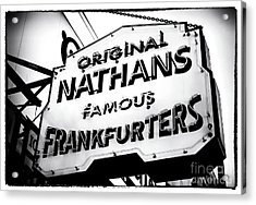 Nathans Famous Frankfurters Acrylic Print by John Rizzuto