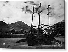 National Famine Memorial The Skeleton Ship By John Behan Beneath Croagh Patrick Mayo Acrylic Print by Joe Fox