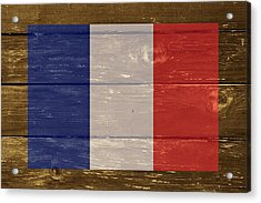 France National Flag On Wood Acrylic Print by Movie Poster Prints