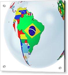 National Flags On Globe Acrylic Print by Andrzej Wojcicki/science Photo Library