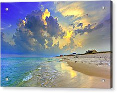 Acrylic Print featuring the photograph National Seashore Navarre Pensacola Beach Florida Blue Sunset Art Prints by Eszra