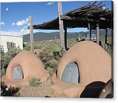 Acrylic Print featuring the photograph Native American Adobe Ovens In New Mexico by Dora Sofia Caputo Photographic Art and Design
