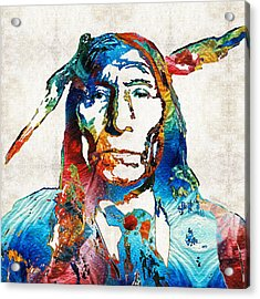 Native American Art By Sharon Cummings Acrylic Print by Sharon Cummings