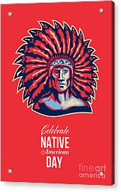 Native American Day Celebration Retro Poster Card Acrylic Print by Aloysius Patrimonio