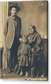 Acrylic Print featuring the photograph Native American Family by Paul Ashby Antique Image