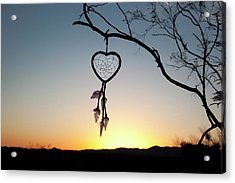 Native American Heart Shaped Acrylic Print by Angel Wynn