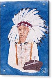 Native American Indian Painting By Carolyn Bennett Acrylic Print by Simon Bratt Photography LRPS