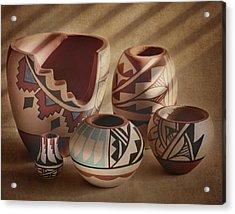 Native American Pottery Acrylic Print by David and Carol Kelly