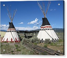 Acrylic Print featuring the photograph Native American Teepees by Dora Sofia Caputo Photographic Art and Design