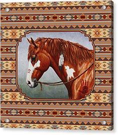 Native American War Horse Southwestern Pillow Acrylic Print
