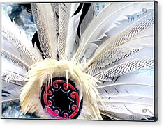 Native American White Feathers Headdress Acrylic Print