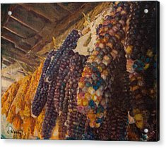 Acrylic Print featuring the mixed media Native Corn Offerings by Carla Woody
