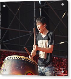 Native Drummer Performs In Taiwan Acrylic Print by Yali Shi