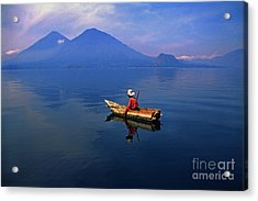 Native Mayan Fisherman On Lake Atitlan Acrylic Print by Thomas R Fletcher