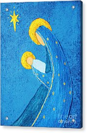 Nativity In Blue Acrylic Print by Pattie Calfy