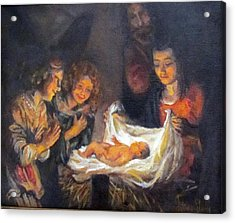 Acrylic Print featuring the painting Nativity Scene Study by Donna Tucker