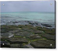 Natural Forming Pentagon Rock Formations Of Kumejima Okinawa Japan Acrylic Print by Jeff at JSJ Photography