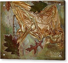 Acrylic Print featuring the mixed media Natural Rythmes - Green Tones by Delona Seserman