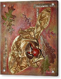 Acrylic Print featuring the mixed media Natural Rythmes - Red Tones  by Delona Seserman