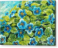 Nature Blue Flowers Original Painting Oil On Canvas Acrylic Print by Drinka Mercep