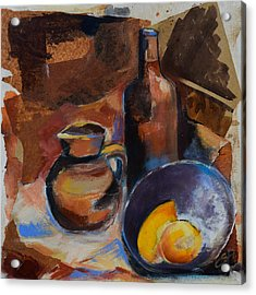 Acrylic Print featuring the painting Still Life Sepia by Elise Palmigiani