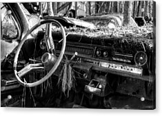 Nature Takes Over A Cadillac In Black And White Acrylic Print by Greg Mimbs