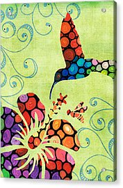 Nature's Harmony 2 - Hummingbird Art By Sharon Cummings Acrylic Print by Sharon Cummings