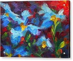 Nature's Palette - Himalayan Blue Poppy Oil Painting Meconopsis Betonicifoliae Acrylic Print by Talya Johnson
