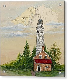 Nautical Chart Cana Island Lighthouse Acrylic Print by Bethany Kirwen