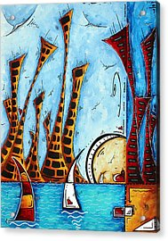 Nautical Coastal Art Original Contemporary Cityscape Painting City By The Bay By Madart Acrylic Print by Megan Duncanson