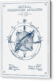Nautical Observation Apparatus Patent From 1895  -  Blue Ink Acrylic Print by Aged Pixel