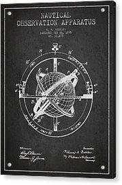 Nautical Observation Apparatus Patent From 1895 - Dark Acrylic Print