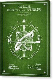 Nautical Observation Apparatus Patent From 1895 - Green Acrylic Print