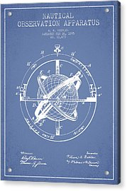 Nautical Observation Apparatus Patent From 1895 - Light Blue Acrylic Print