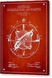 Nautical Observation Apparatus Patent From 1895 - Red Acrylic Print