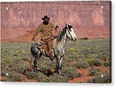 Navajo Cowboy Acrylic Print by Diane Bohna