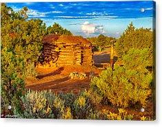 Navajo Hogan Canyon Dechelly Nps Acrylic Print by Bob and Nadine Johnston