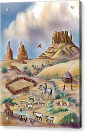 Navajo Sheepherder - Age 11 Acrylic Print by Dawn Senior-Trask